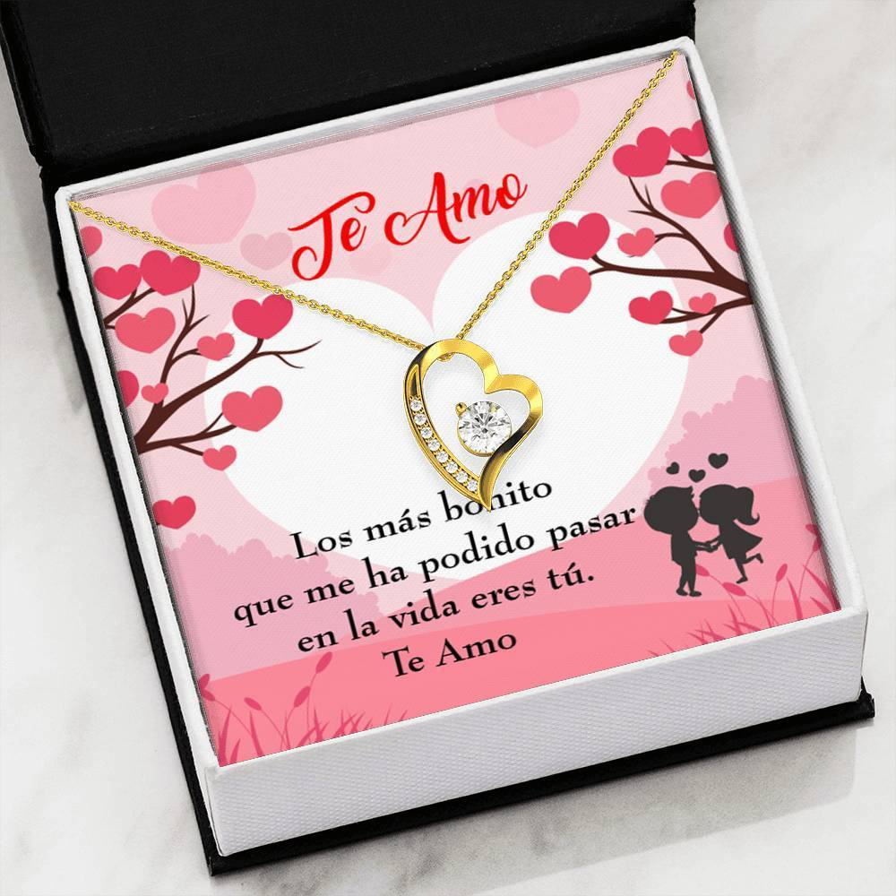 "Te Amo Cubic Zirconia Love Heart Pendant 18k Gold Finish or Stainless Steel 18"" Necklace Express Your Love Gifts"
