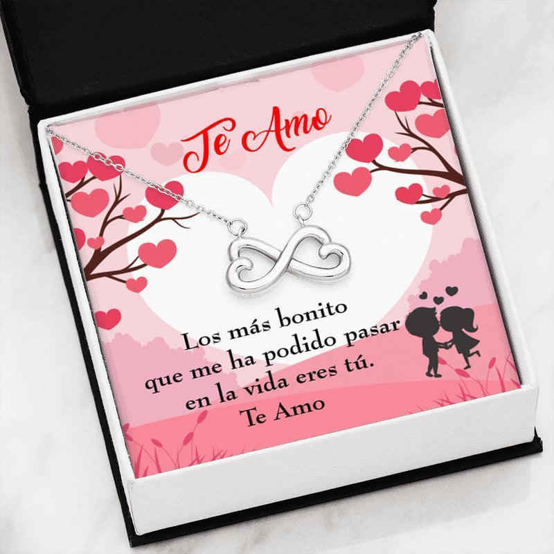 Te Amo Infinity Pendant Necklace Message Card Express Your Love Gifts