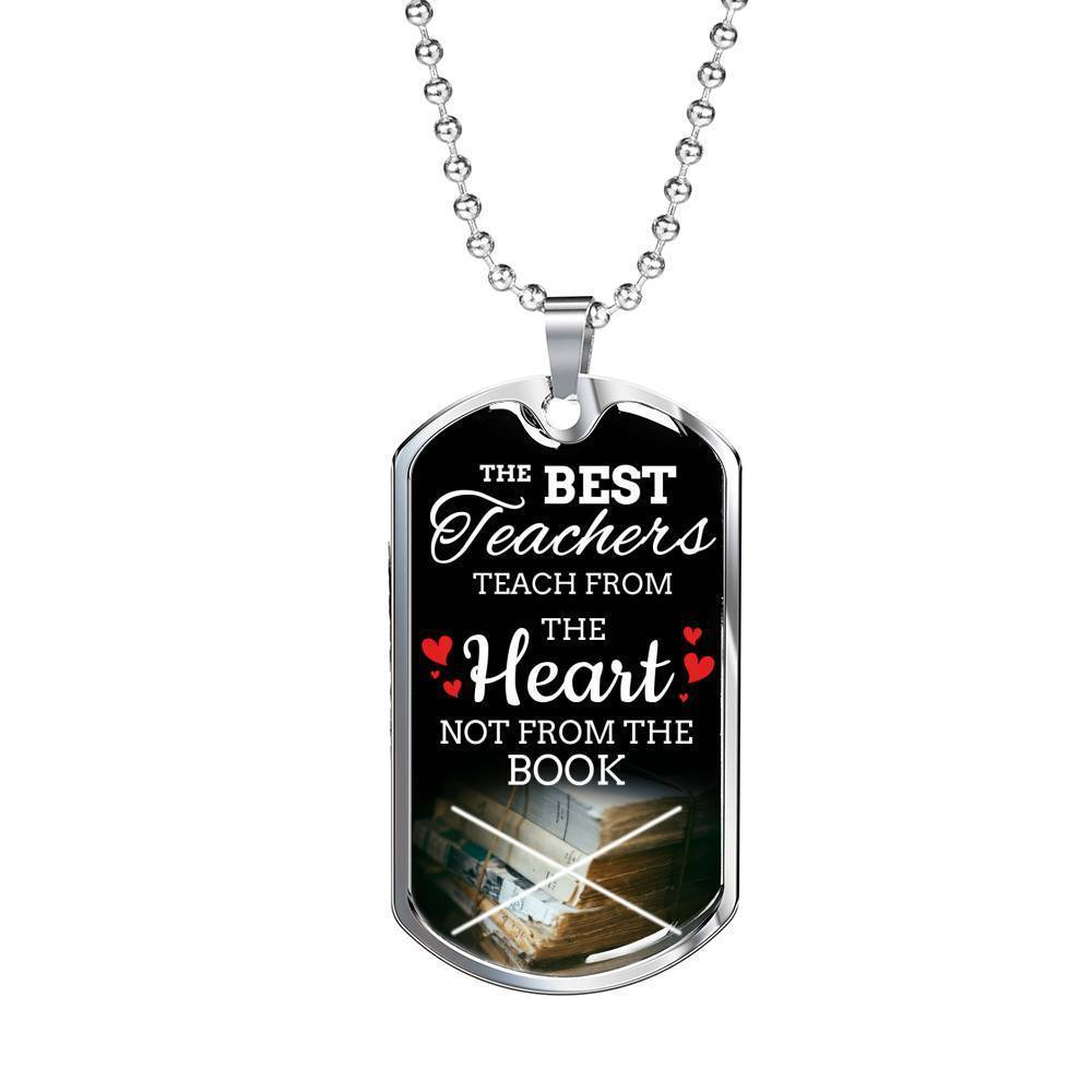 Express Your Love Gifts Teach From Heart The Teacher Appreciation Gift Luxury Dog Tag Pendant Necklace