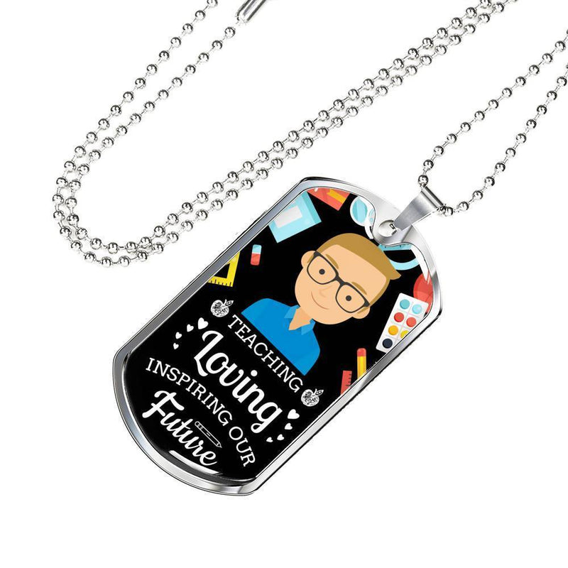 Express Your Love Gifts Teaching Loving Inspiring Our Future Teacher Appreciation Gift Dog Tag Pendant Necklace Military Chain (Silver) / No