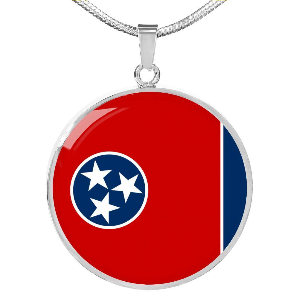 "Tennessee State Flag Necklace Stainless Steel or 18k Gold Circle Pendant 18-22"" - Express Your Love Gifts"