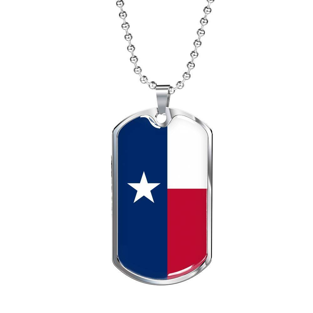 "Express Your Love Gifts Texas Flag Handmade Pendant Stainless Steel or 18k Gold Military Dog Tag Necklace w 24"" Ball Chain Military Chain (Silver) / No"