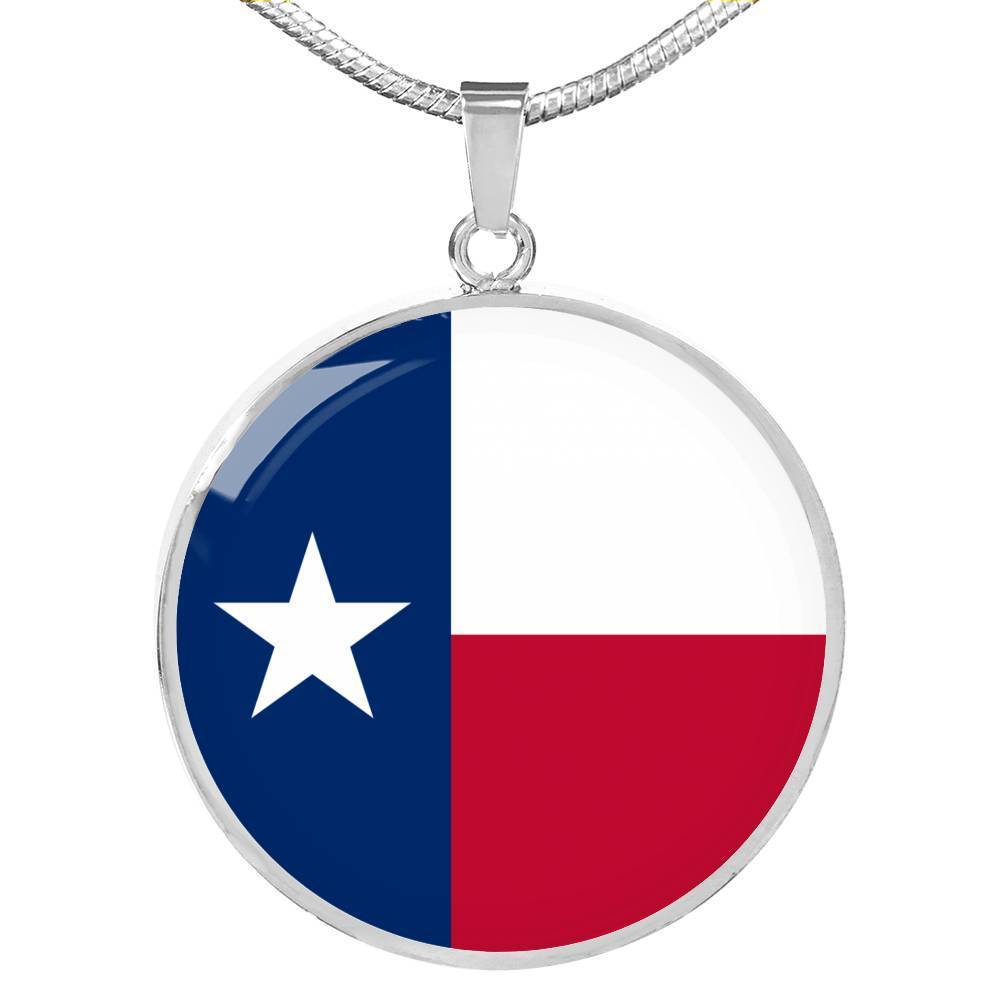 "Texas State Flag Necklace Stainless Steel or 18k Gold Circle Pendant 18-22"" - Express Your Love Gifts"