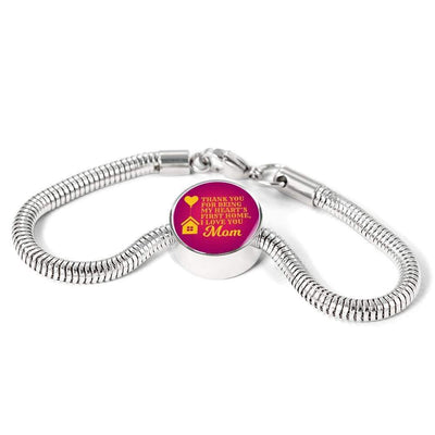 Thank You For Being My Heart's First Home, I Love You Mom Handmade Stainless Steel Circle Charm Bracelet Express Your Love Gifts