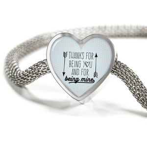 Express Your Love Gifts Thanks for Being You and for Being Mine Heart Charm Bracelet