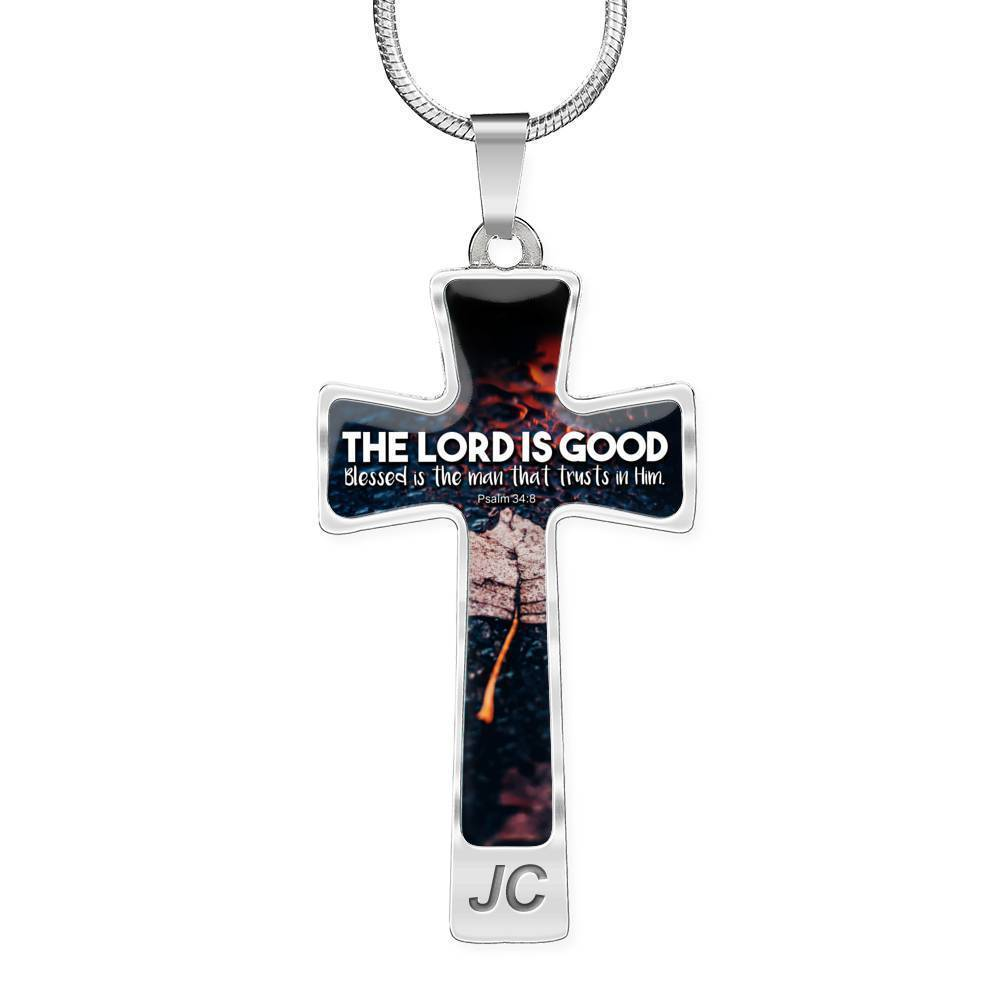 Express Your Love Gifts The Lord is Good Bible Verse Psalm Jewelry Cross Cross Pendant Necklace