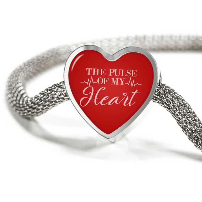 The Pulse of My Heart-Handmade Stainless Steel - Heart Charm Bracelet