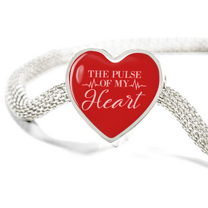 Express Your Love Gifts The Pulse of My Heart-Handmade Stainless Steel - Heart Charm Bracelet