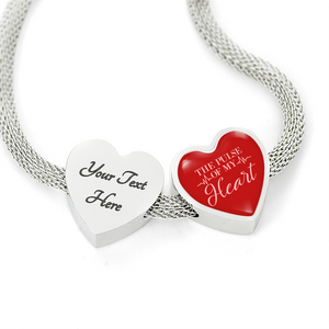Express Your Love Gifts The Pulse of My Heart-Handmade Stainless Steel - Heart Charm Bracelet S/M Bracelet & Charm / Yes