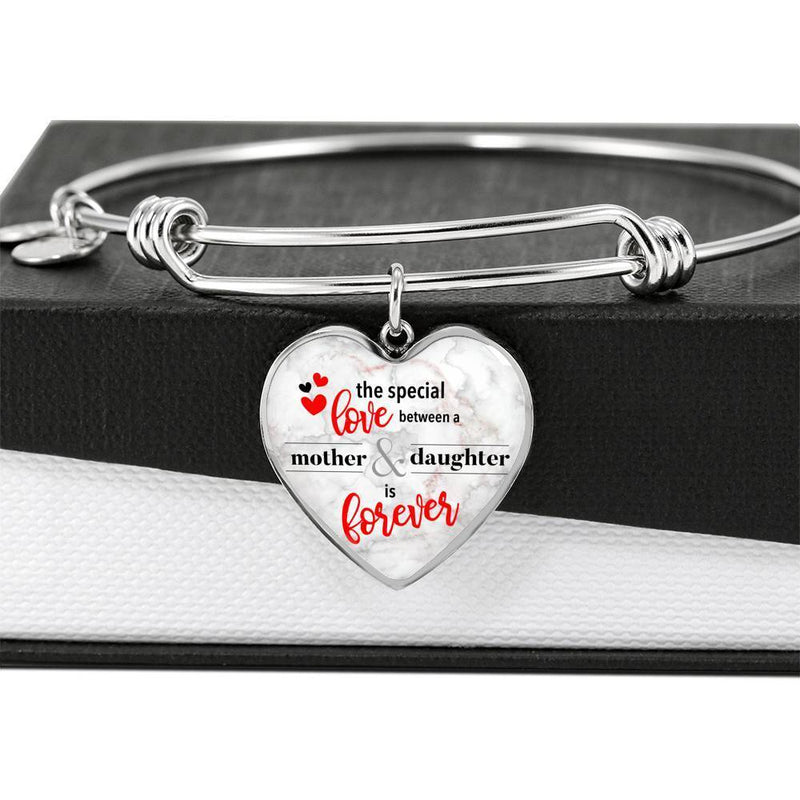 Express Your Love Gifts The Special Love Between A Mother & Daughter Is Forever Heart Bracelet Bangle