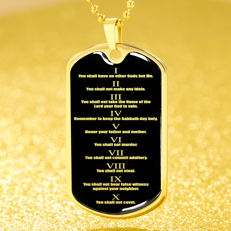 "Ten Commandments Necklace 10 Commandments Pendant Stainless Steel or 18k Gold Dog Tag 24"" Chain - Express Your Love Gifts"