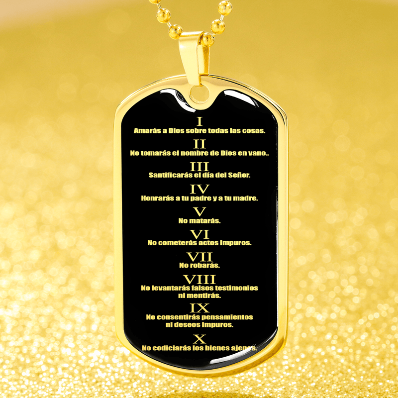 "The Ten Commandments in Spanish Dog Tag Stainless Steel or 18k Gold Finish 24"" Ball Chain Express Your Love Gifts"