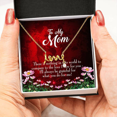 There is Nothing Meaningful Mom Gift, Scripted Necklace Stainless Steel, Mother's Day Jewelry Express Your Love Gifts
