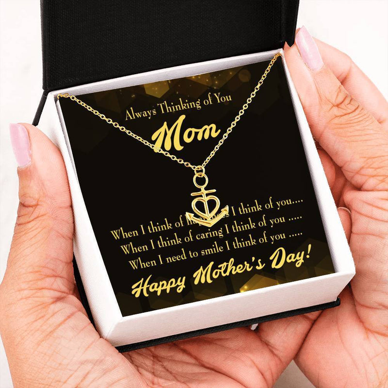 Thinking of You English Anchor Pendant Stainless Steel, Mothers Day Birthday Jewelry Gift