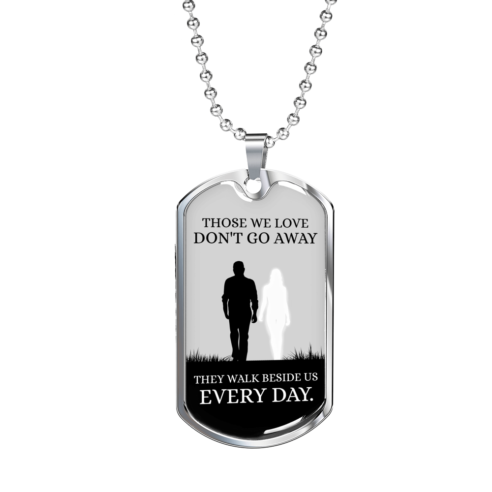 Express Your Love Gifts Those We Love Dog Tag Pendant Necklace Military Chain (Silver) / No