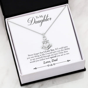 "To My Daughter Never Forget Anchor Necklace Stainless Steel 16-22"" Adjustable Cable Chain Express Your Love Gifts"