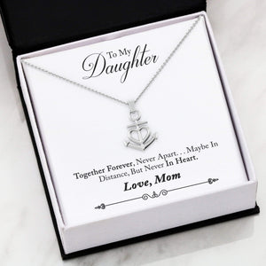 "To My Daughter Together Forever Anchor Necklace Stainless Steel 16-22"" Adjustable Cable Chain Express Your Love Gifts"