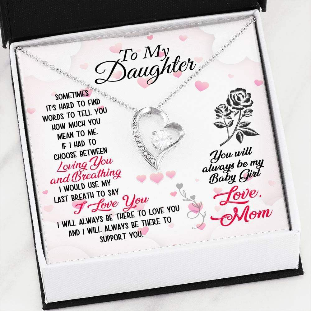To my Daughter You Will Always be my Baby Girl Forever Pendant Necklace Message Card - Express Your Love Gifts