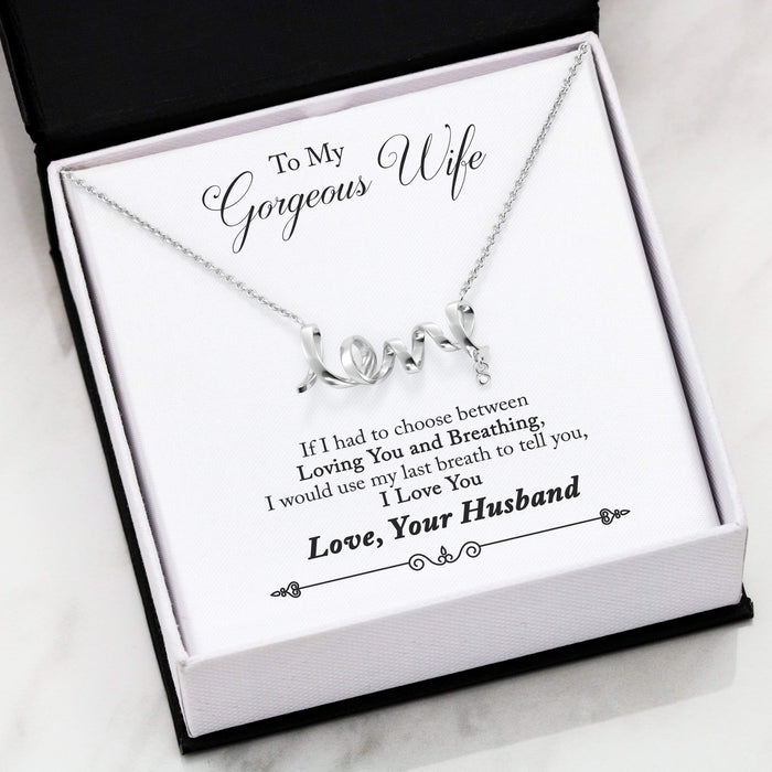 "To My Gorgeous Wife Scripted Love Card Necklace Stainless Steel 16-22"" Adjustable Cable Chain"