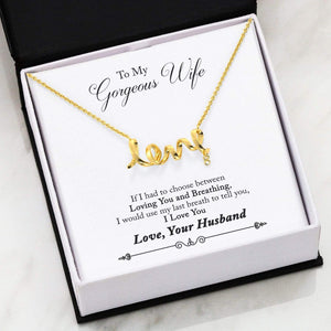 "To My Gorgeous Wife Scripted Love Card Necklace Stainless Steel 16-22"" Adjustable Cable Chain Express Your Love Gifts"