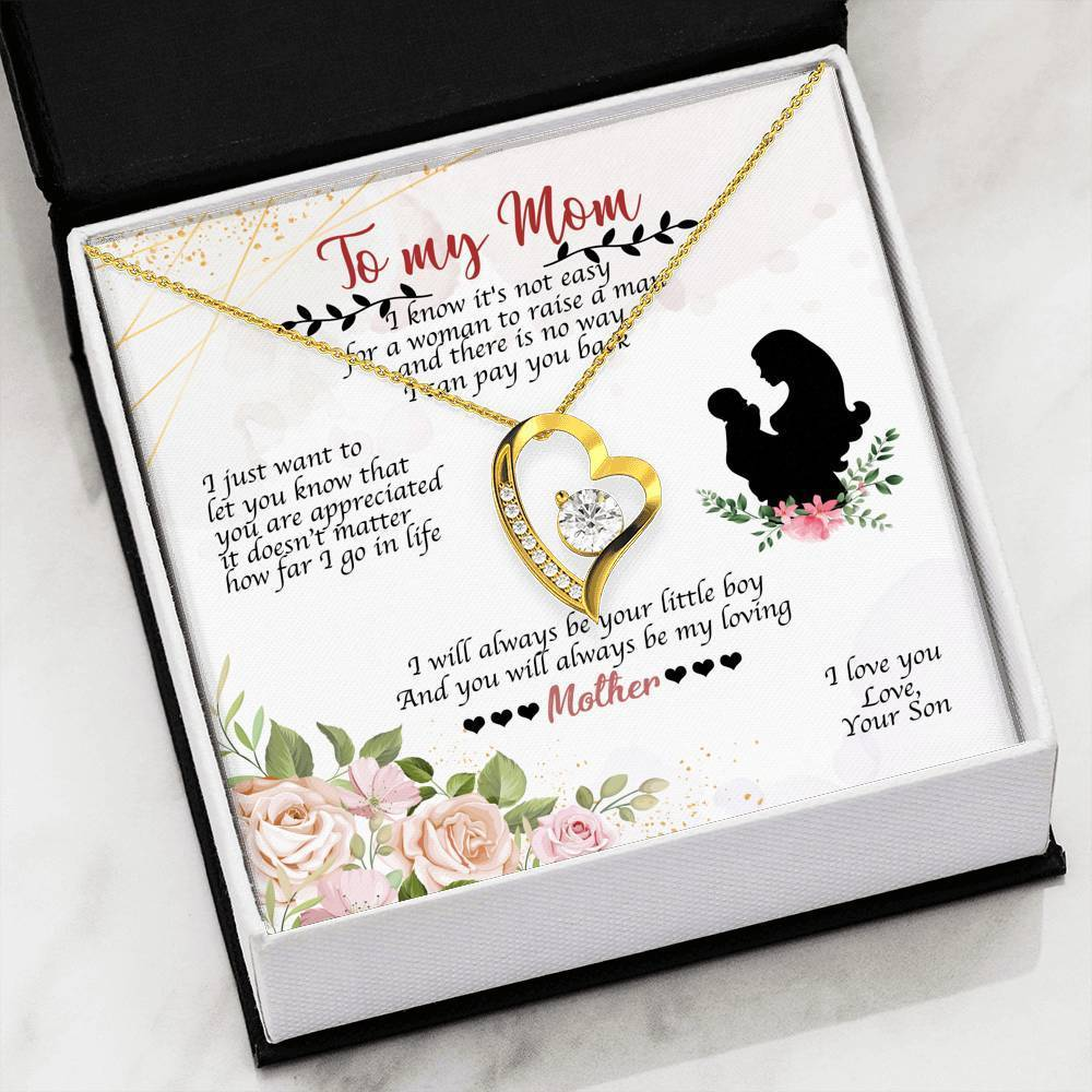 To my Mom Always Be Your Little Boy Forever Pendant Necklace Message Card - Express Your Love Gifts