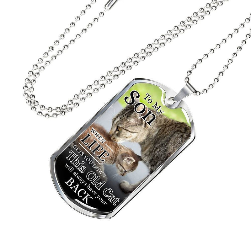 "To My Son From Mom Cat Necklace Stainless Steel or 18k Gold Dog Tag w 24"" Chain - Express Your Love Gifts"
