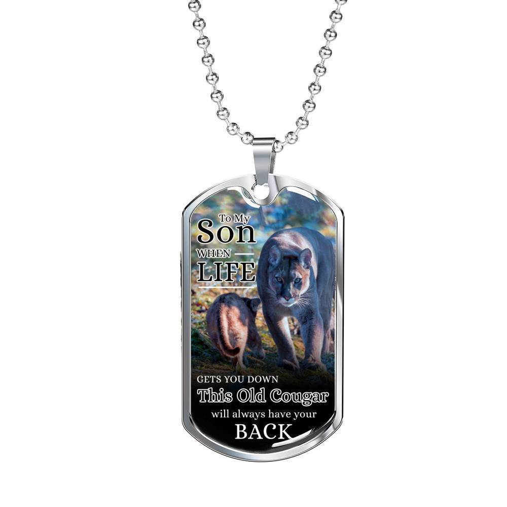 Express Your Love Gifts To My Son From Mom Dog Tag Pendant Necklace Military Chain (Silver) / No