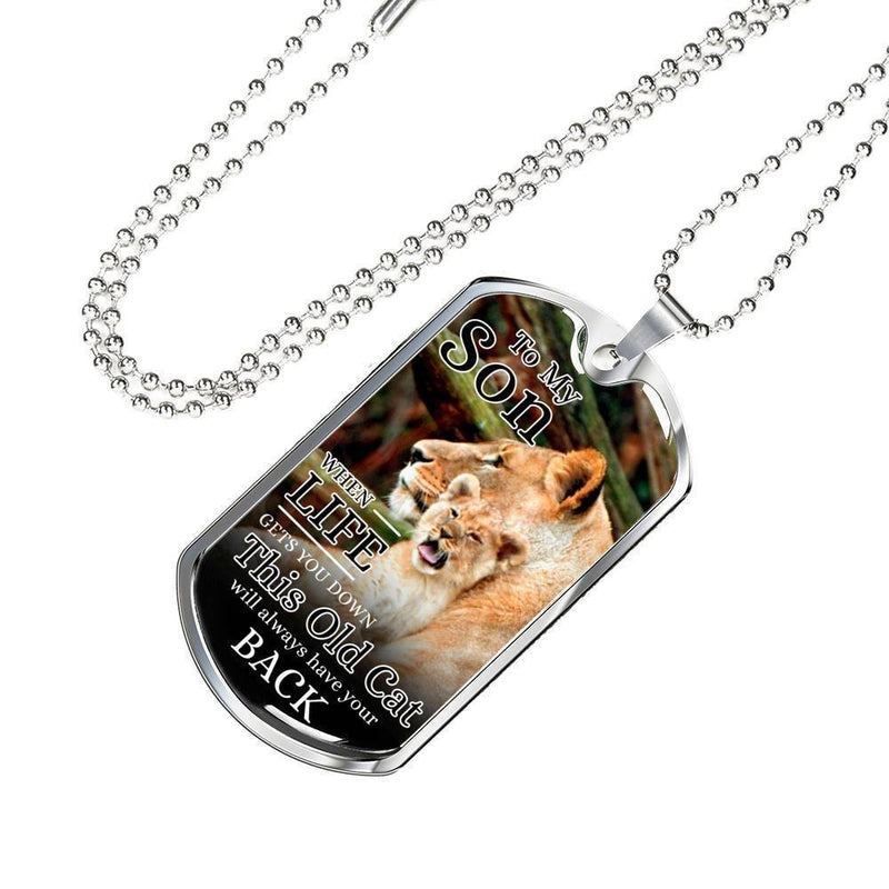 "To My Son From Mom Necklace Stainless Steel or 18k Gold Dog Tag w 24"" Chain - Express Your Love Gifts"