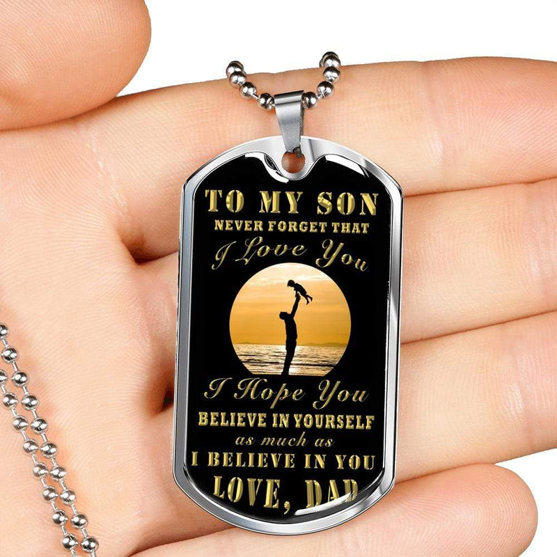 "Son Gift To My Son from Dad Dog Tag Stainless Steel or 18k Gold w 24"" Chain - Express Your Love Gifts"