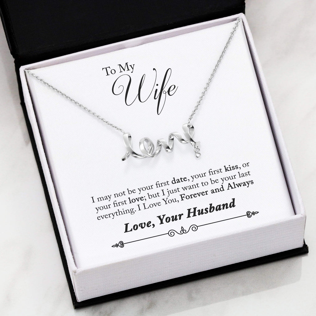 "To My Wife Forever and Always Forever Scripted Love Card Necklace Stainless Steel 16-22"" Adjustable Cable Chain Express Your Love Gifts"