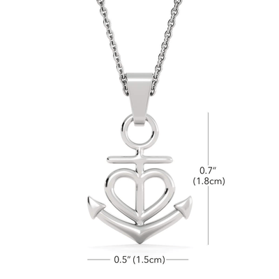 "To My Wife Heart to Heart Anchor Necklace Stainless Steel 16-22"" Adjustable Cable Chain Express Your Love Gifts"