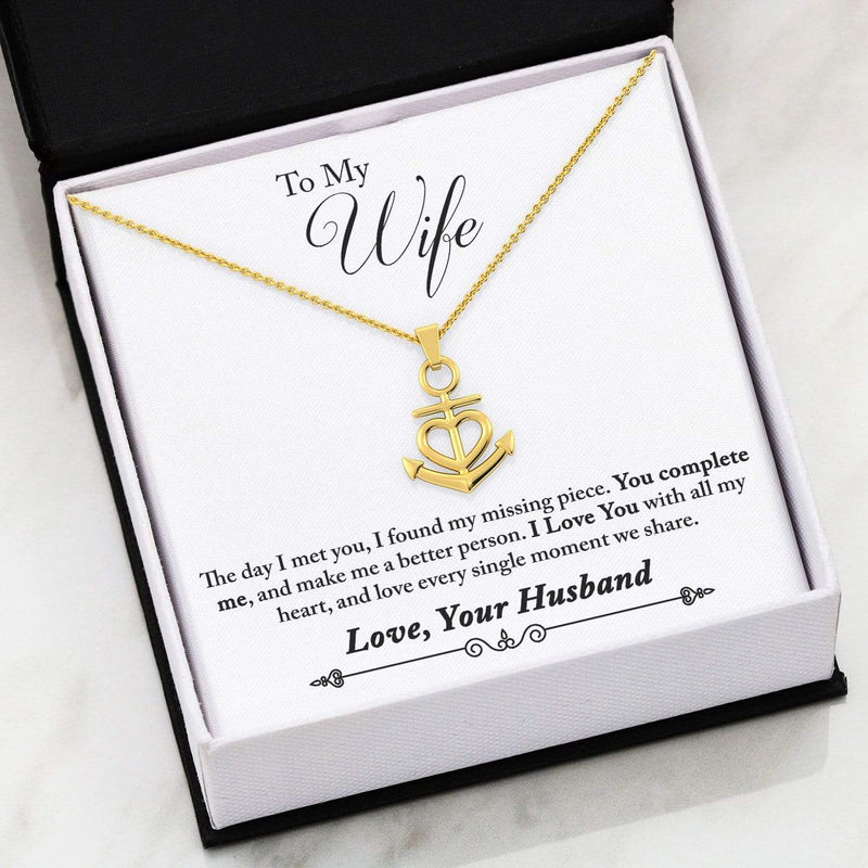 "To My Wife You Complete Me Anchor Necklace Stainless Steel  16-22"" Adjustable Cable Chain Express Your Love Gifts"