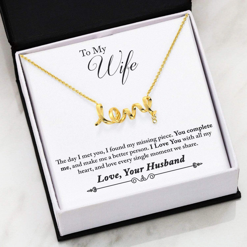 "To My Wife You Complete Me Scripted Love Card Necklace Stainless Steel 16-22"" Adjustable Cable Chain Express Your Love Gifts"