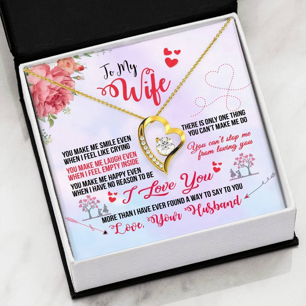 To My Wife You Make Me Smile Forever Pendant Necklace Message Card - Express Your Love Gifts