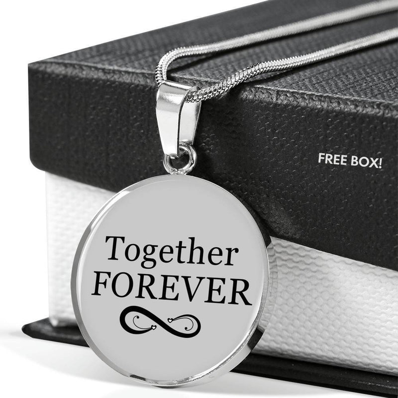 "Together Forever Circle Pendant Necklace Stainless Steel or 18k Gold 18-22"" - Express Your Love Gifts"