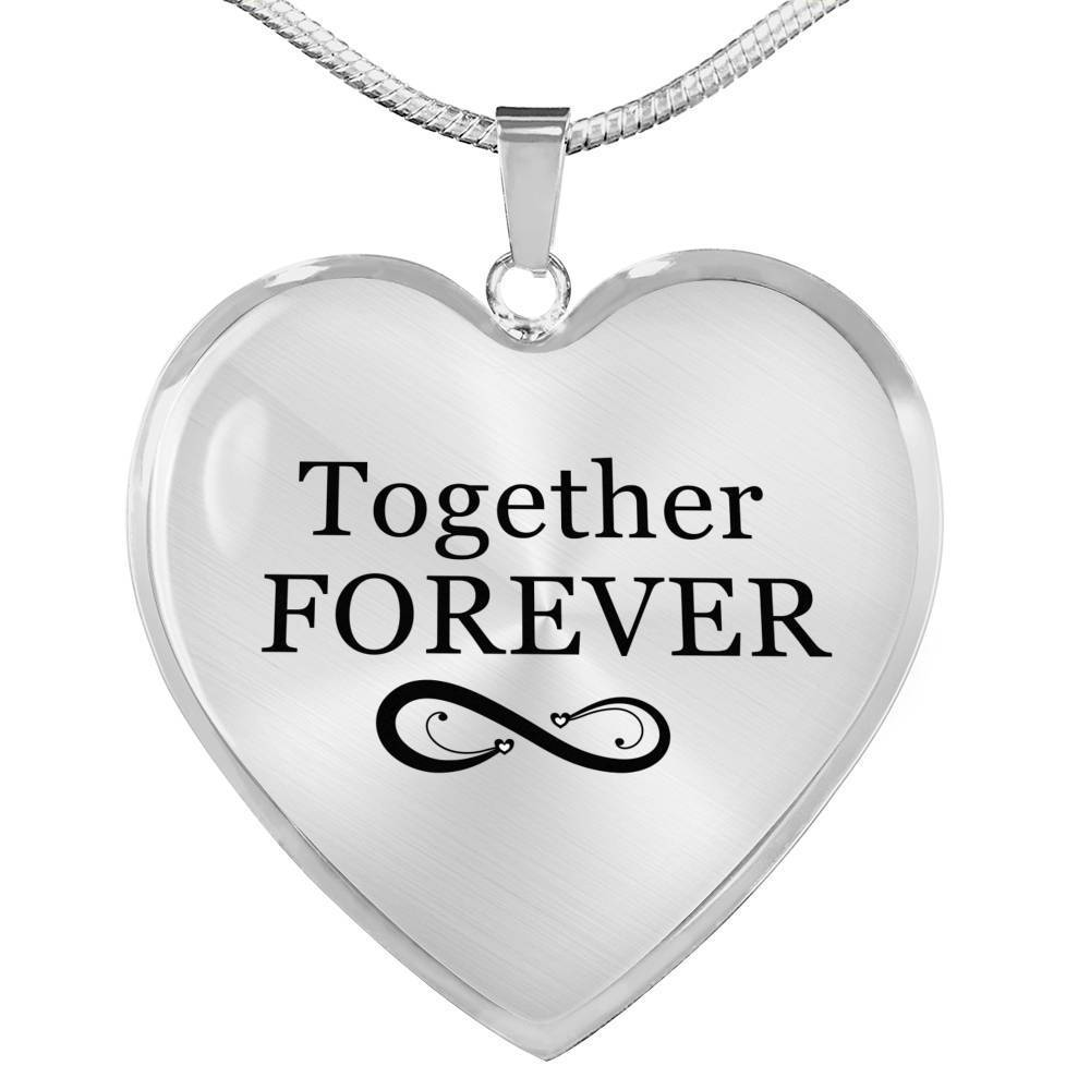 "Together Forever Necklace Stainless Steel or 18k Gold Heart Pendant 18""-22"" - Express Your Love Gifts"