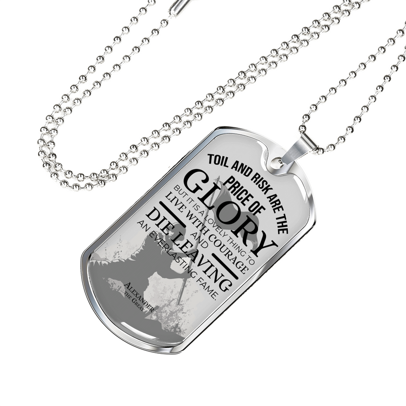 Express Your Love Gifts Toil And Risk Are The Price Of Glory Dog Tag Pendant Necklace