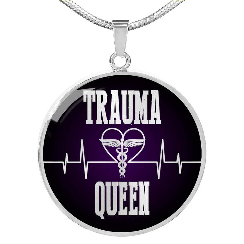 "Trauma Queen Nurse Circle Pendant Necklace Stainless Steel or 18k Gold Finish 18""-22"" Express Your Love Gifts"