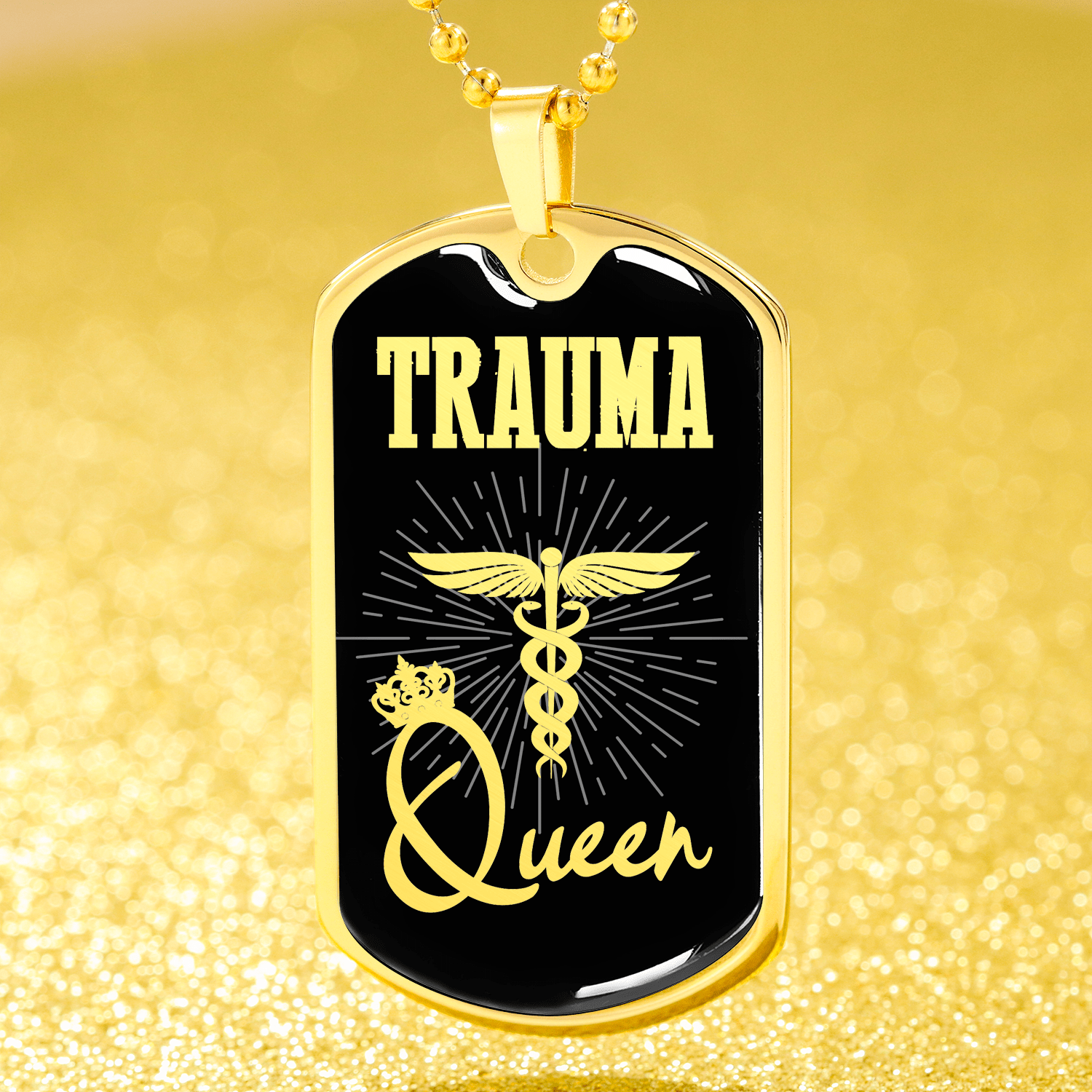 "Trauma Queen Paramedic Nurse Dog Tag Stainless Steel or 18k Gold Finish 24"" Ball Chain Express Your Love Gifts"