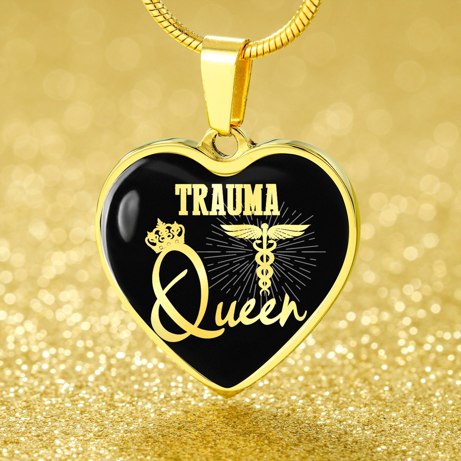 "Trauma Queen Paramedic Nurse Necklace Stainless Steel or 18k Gold Finish Heart Pendant 18""-22"" Express Your Love Gifts"