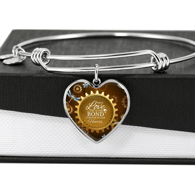 True Love Is The Bond Forever In Our Hearts Brown Heart Bracelet Bangle - Express Your Love Gifts