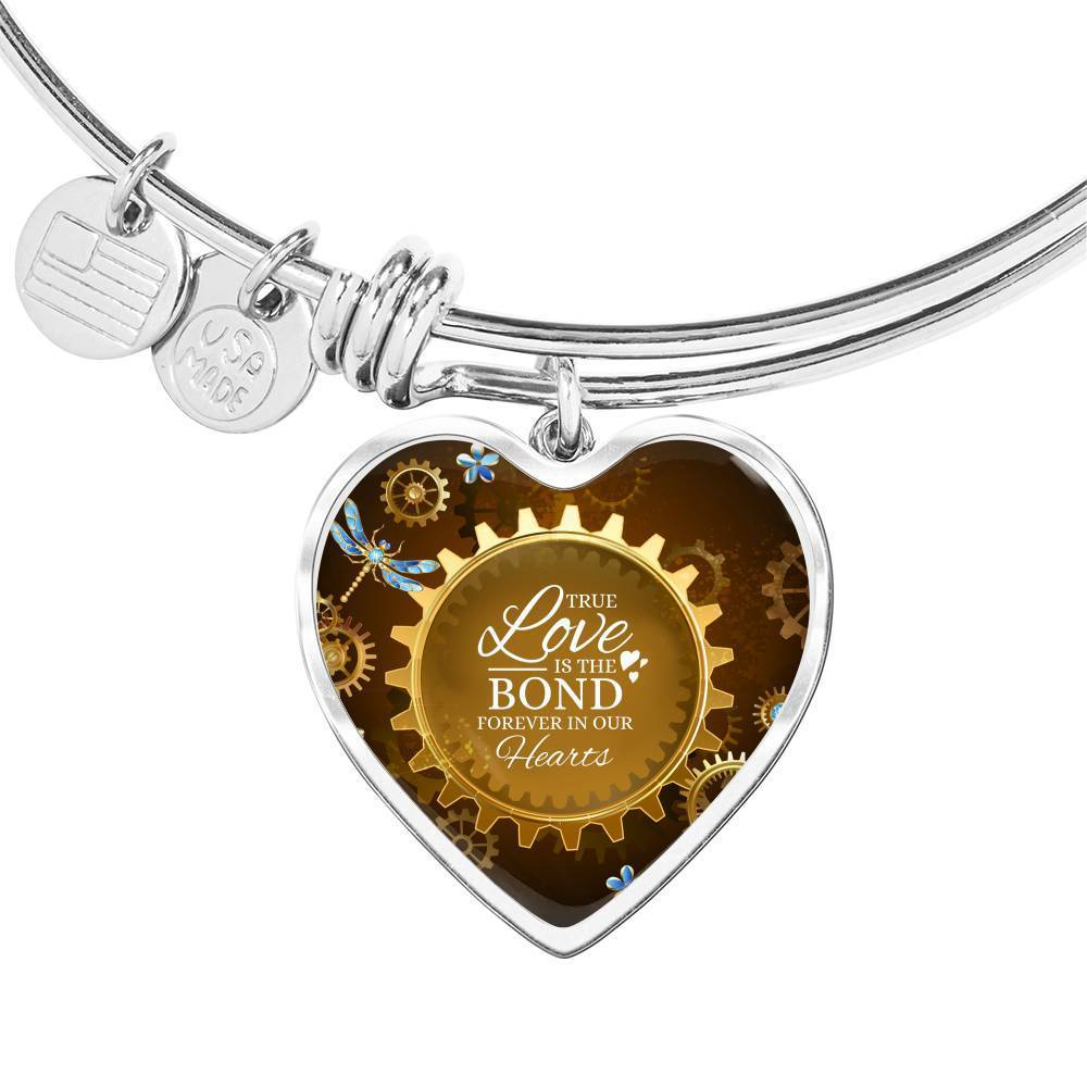 Express Your Love Gifts True Love Is The Bond Forever In Our Hearts Brown Heart Bracelet Bangle Heart Pendant Silver Bangle / No