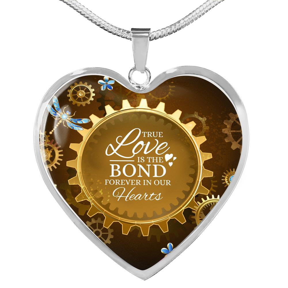 True Love Is The Bond Forever In Our Hearts Brown Heart Pendant Necklace - Express Your Love Gifts
