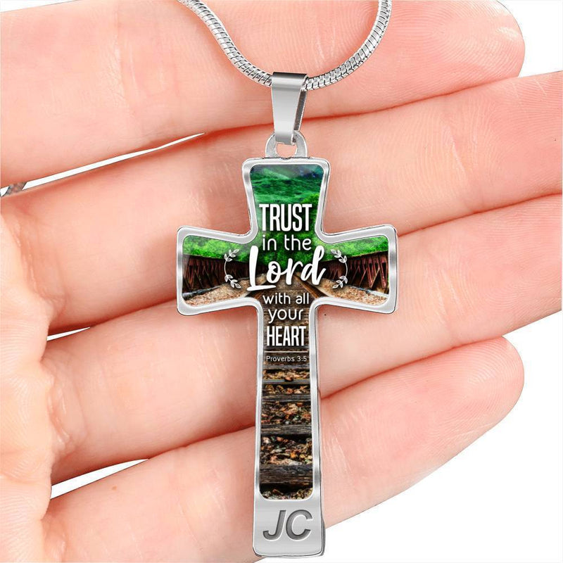 Express Your Love Gifts Trust in the Lord Proverbs Bible Verse Cross Pendant Necklace
