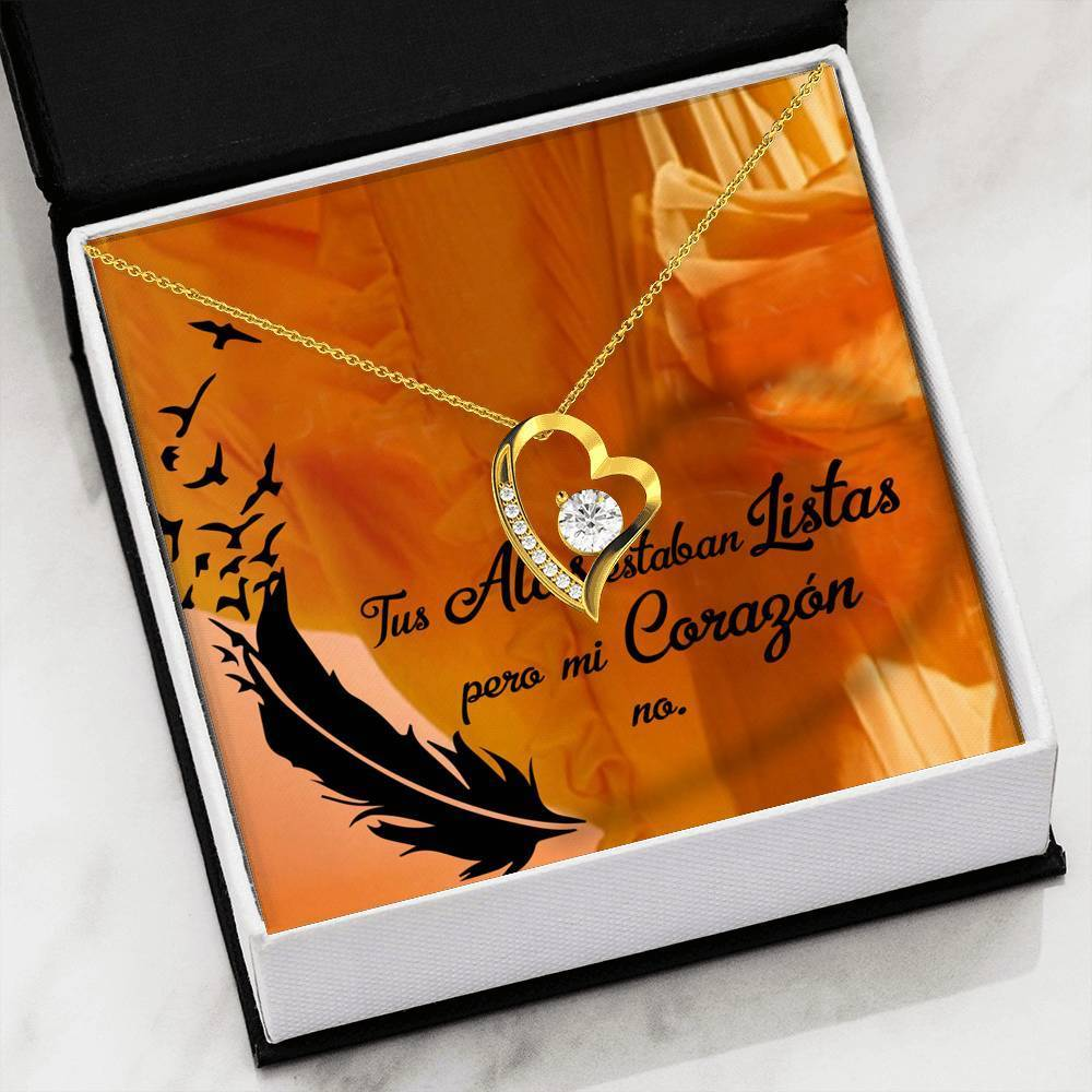 "Tus Alas Estaban Listas CZ Love Heart Pendant 18k Gold or Stainless Steel 18"" Necklace - Express Your Love Gifts"