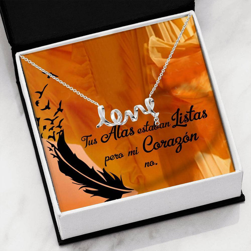 Tus Alas Estaban Listas Scripted Love Pendant Necklace Message Card Express Your Love Gifts