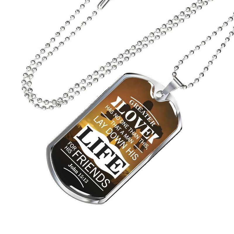 Express Your Love Gifts Ultimate Sacrifice Bible Verse Jewelry John 15:13 Dog Tag Pendant Necklace Military Chain (Silver) / No