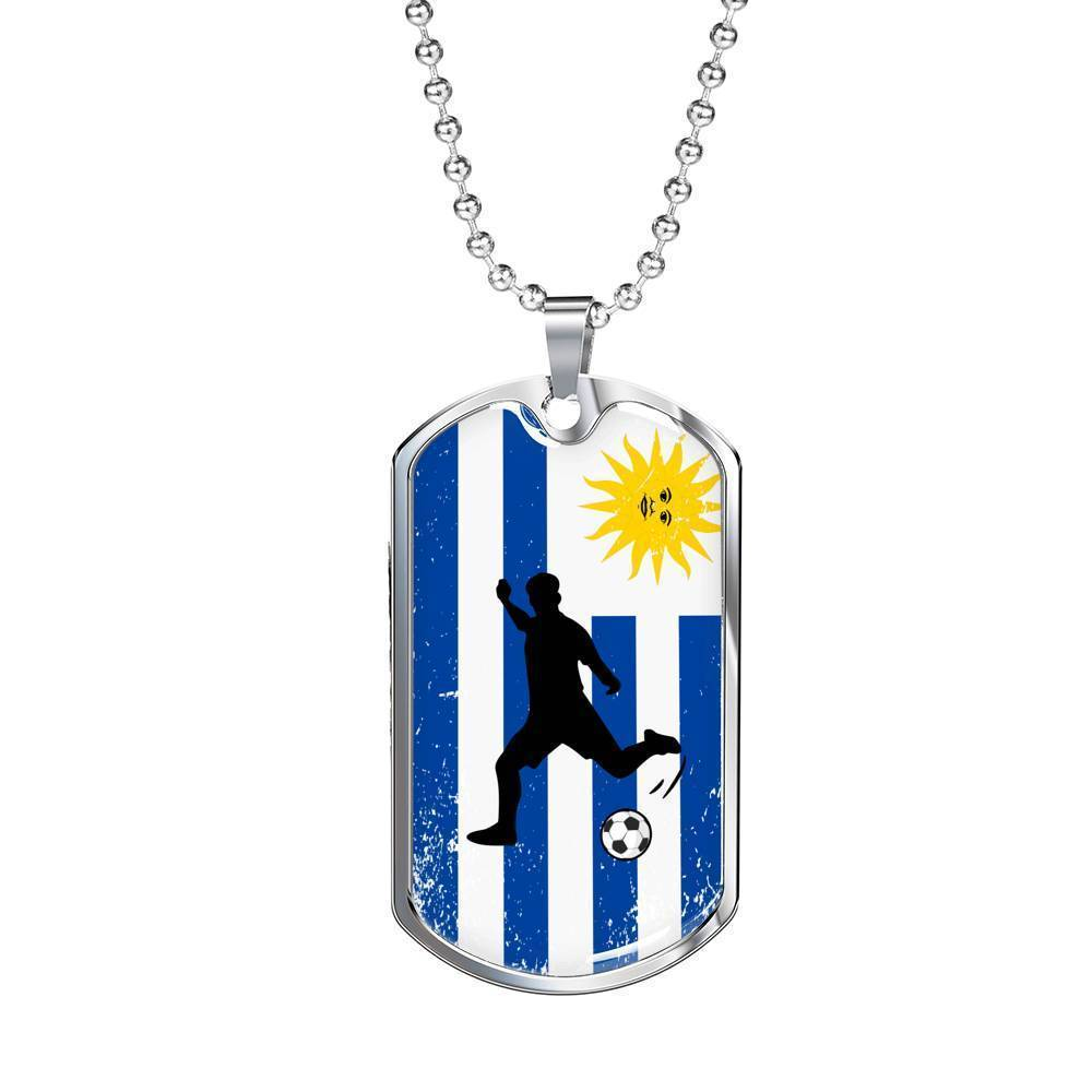 Express Your Love Gifts Uruguay Flag and Futbol/Soccer Dog Tag Pendant Necklace Military Chain (Silver) / No