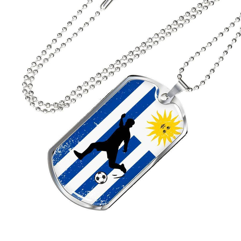 "Uruguay Flag and Futbol/Soccer Necklace Stainless Steel or 18k Gold Dog Tag w 24"" Chain - Express Your Love Gifts"