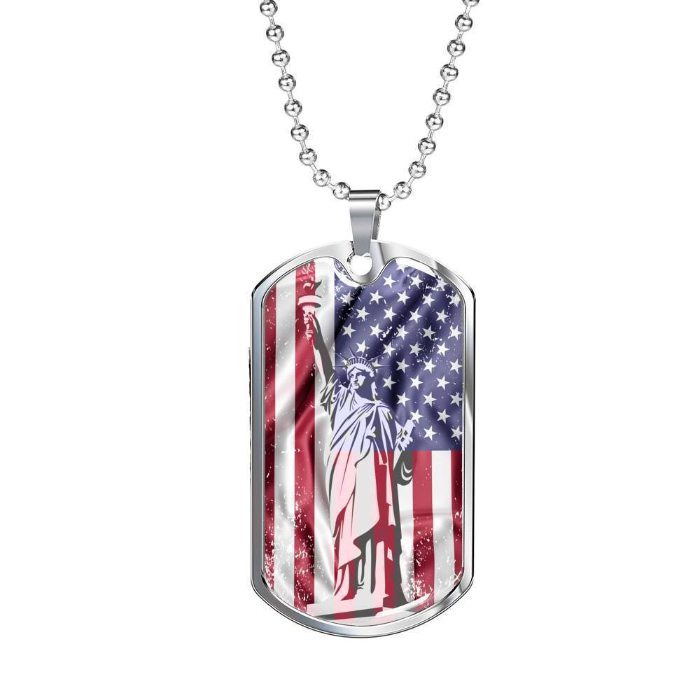 Express Your Love Gifts US Flag Distressed with Statue of Liberty Dog Tag Pendant Necklace